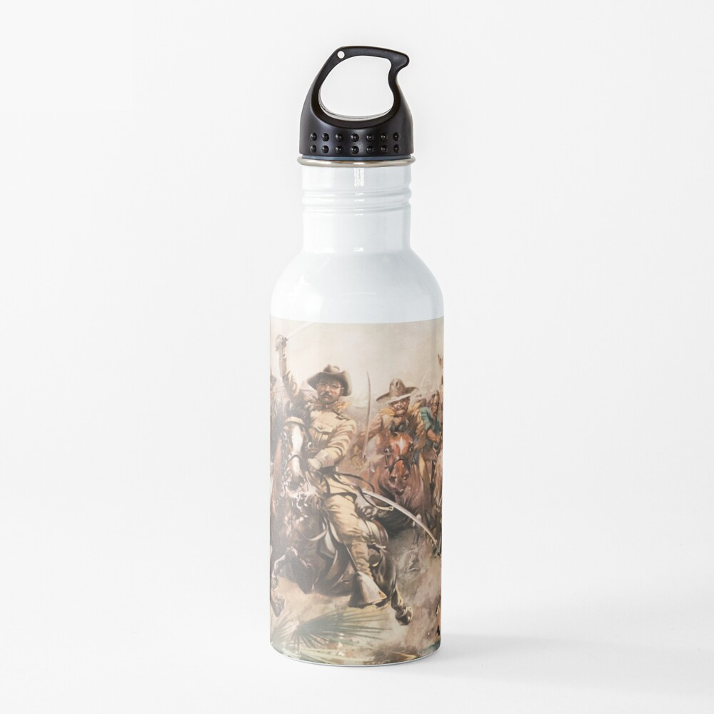 Teddy Roosevelt and The Rough Riders Charging Into Battle Water Bottle