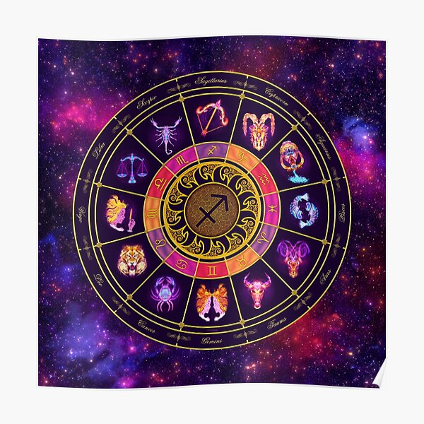 Sagittarius Zodiac Lightburst - Circle Poster