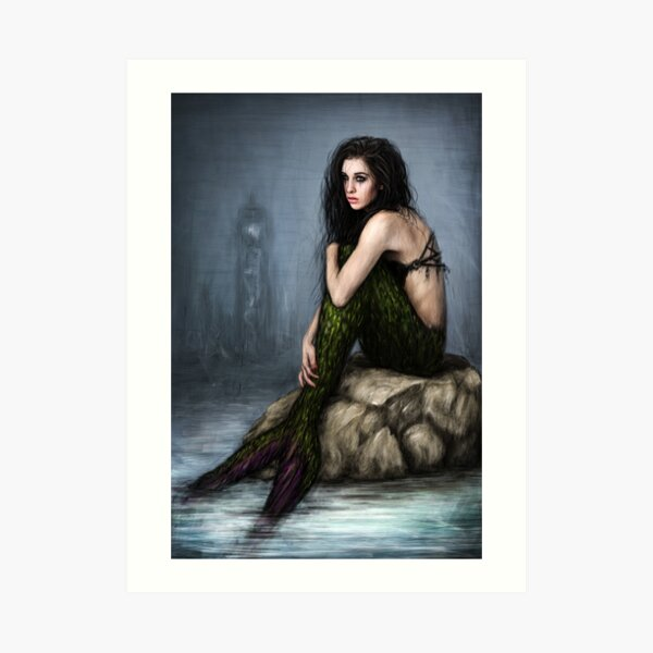 Mermaid and the Lighthouse Art Print