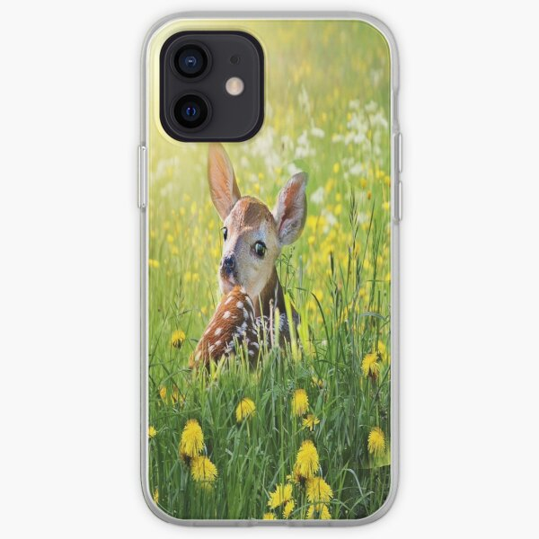 Spotted Fawn in field of green grass and yellow dandelions iPhone Soft Case