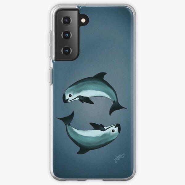 """""""Spiraling"""" vaquita porpoise by artist Amber Marine (Copyright 2015) ~ vaquita art, critically endangered species  Samsung Galaxy Soft Case"""