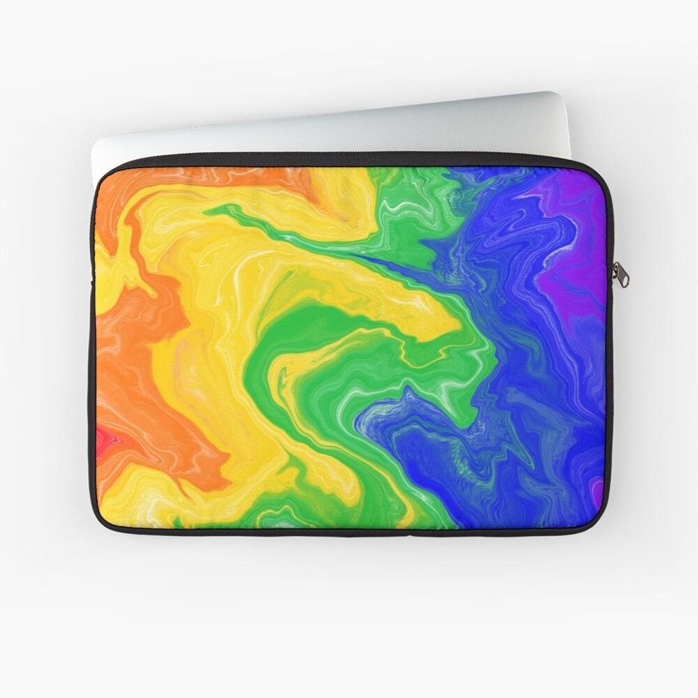 Rainbow Acrylic Pour Painting Laptop Sleeve