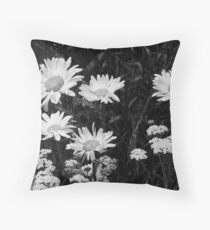 Daisies in Black & White Throw Pillow