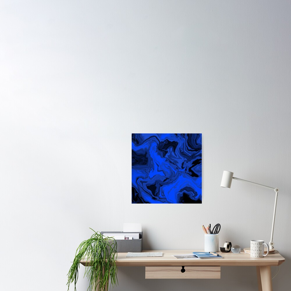 Black and Blue Acrylic Pour Painting Poster