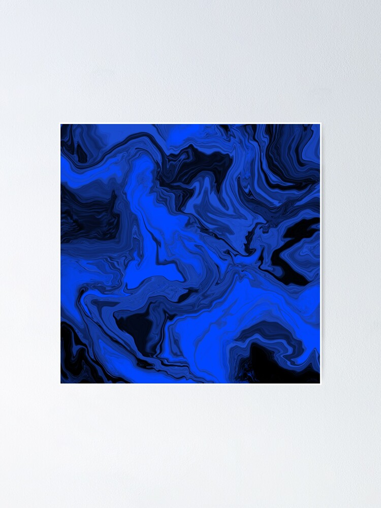 Alternate view of Black and Blue Acrylic Pour Painting Poster