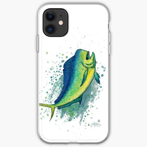 """Mahi Mahi Splash"" by Amber Marine ~ watercolor & ink dolphin fish / dorado painting, art © 2016 iPhone Soft Case"