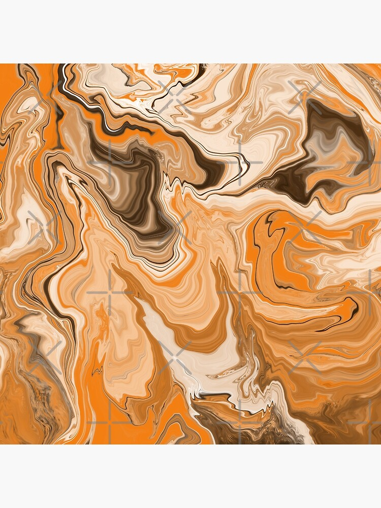 Orange / Peach / Beige Acrylic Pour Painting by abstractnudes