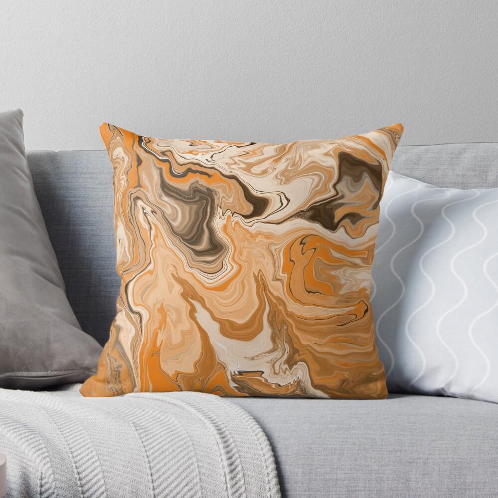 Orange / Peach / Beige Acrylic Pour Painting Throw Pillow