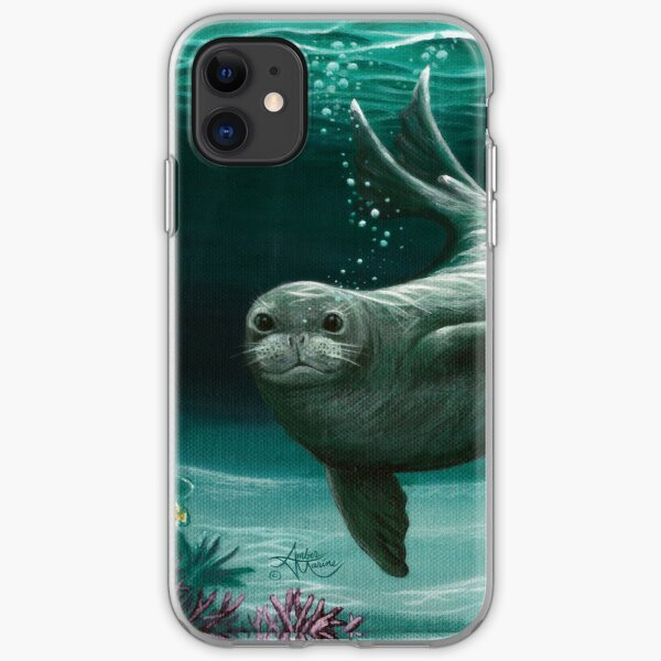 """Hawaiian Monk Seal"" by Amber Marine ~ Acrylic painting, art © 2015 iPhone Soft Case"