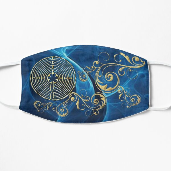 Chartres Cathedral Labyrinth - Blue Wave Scroll Flat Mask