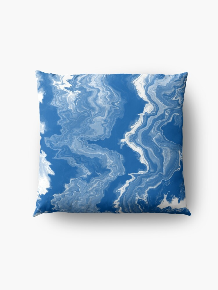 Alternate view of Blue / Light Blue / White Acrylic Pour Painting Floor Pillow