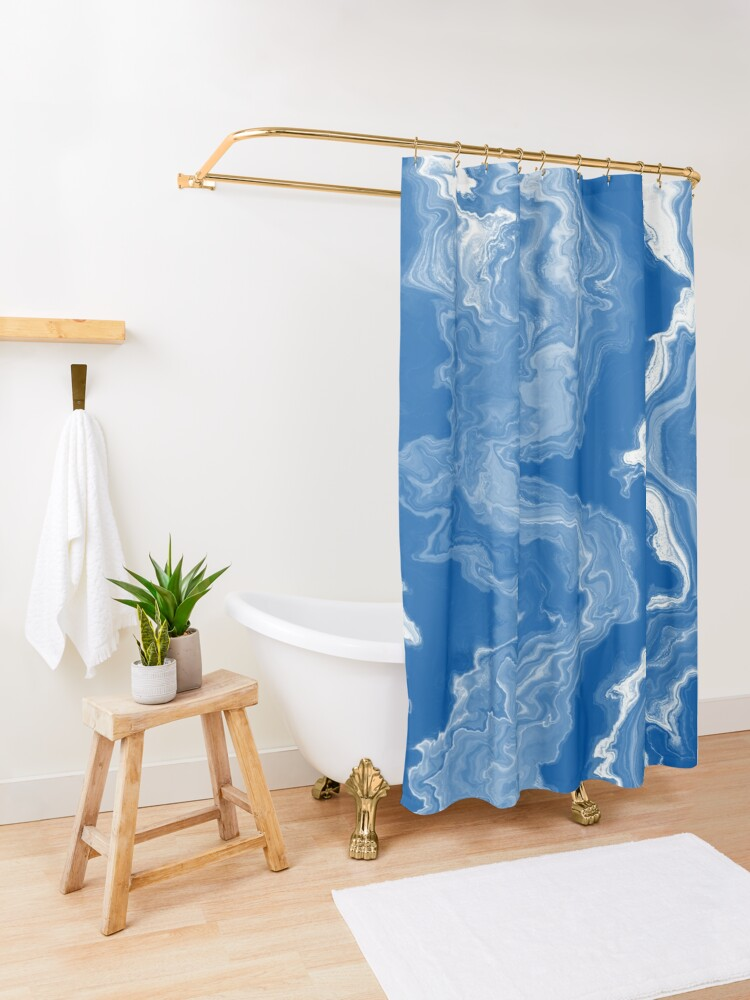 Alternate view of Blue / Light Blue / White Acrylic Pour Painting Shower Curtain