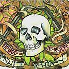 no god, no master. anarchist art, aged tattoo flash. by resonanteye