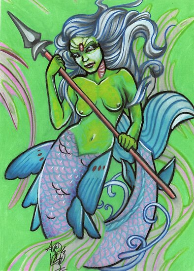 green mermaid by resonanteye