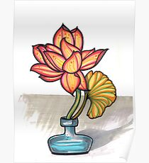 lotus in a glass jar vase Poster