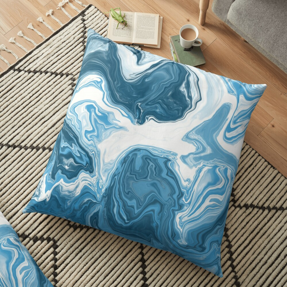 Baby Blue / Sky Blue / White Acrylic Pour Painting Floor Pillow