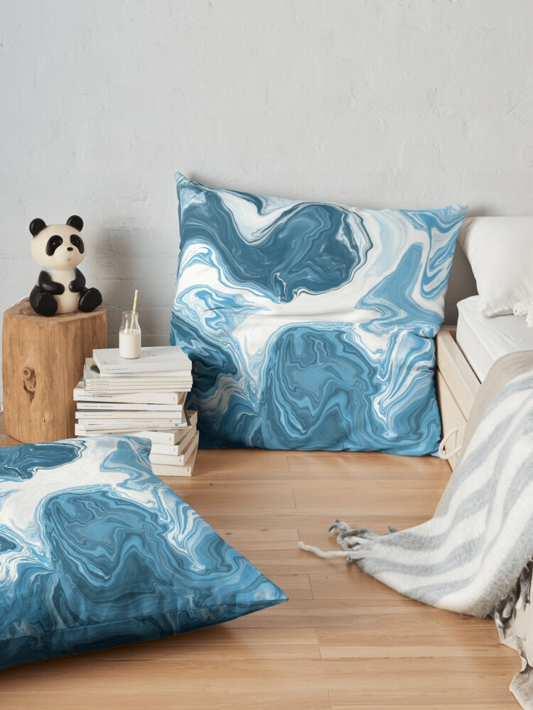 Alternate view of Baby Blue / Sky Blue / White Acrylic Pour Painting Floor Pillow