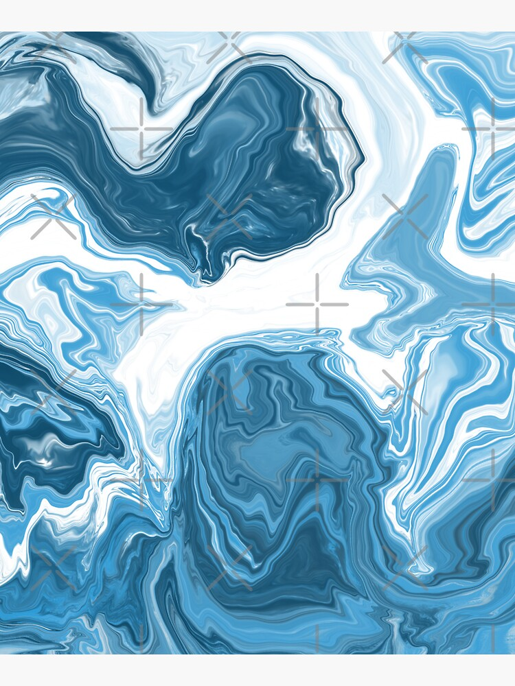 Baby Blue / Sky Blue / White Acrylic Pour Painting by abstractnudes