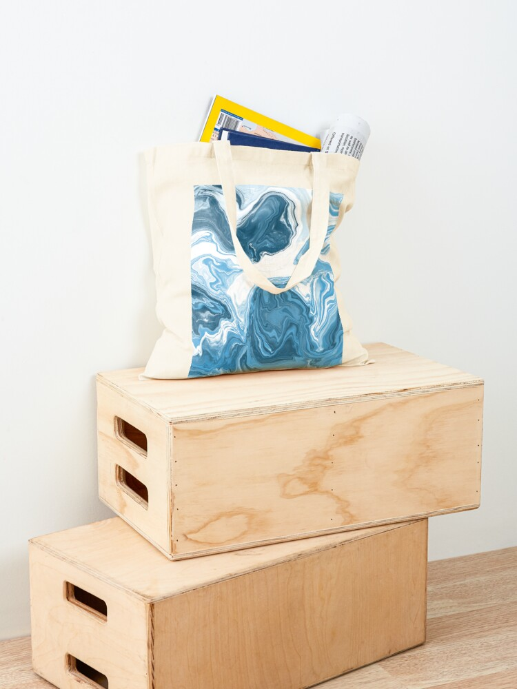 Alternate view of Baby Blue / Sky Blue / White Acrylic Pour Painting Tote Bag
