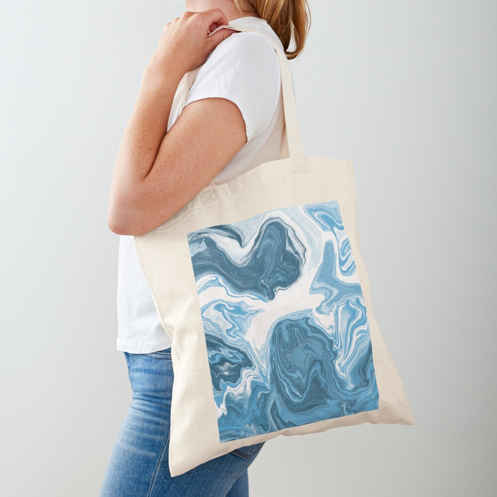 Baby Blue / Sky Blue / White Acrylic Pour Painting Tote Bag