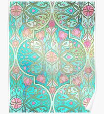 Floral Moroccan in Spring Pastels - Aqua, Pink, Mint & Peach Poster