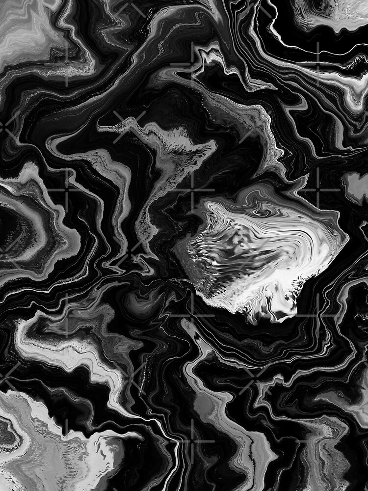 Black and White / Gray Acrylic Pour Painting by abstractnudes
