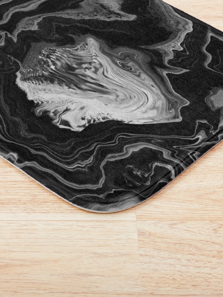 Alternate view of Black and White / Gray Acrylic Pour Painting Bath Mat