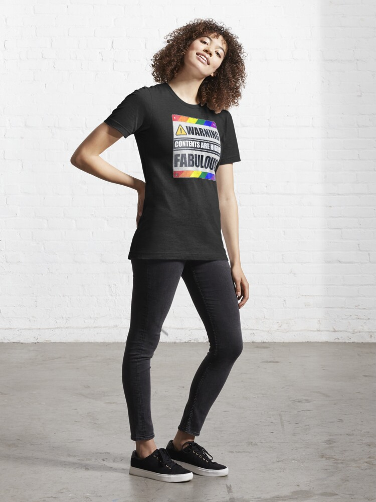 Alternate view of Warning: Contents are Highly Fabulous LGBT Essential T-Shirt