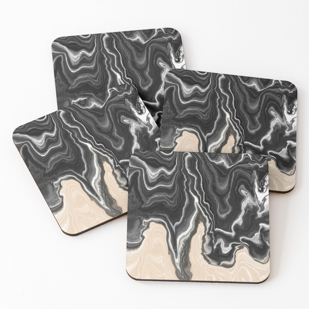 Black and White / Peach / Beige Acrylic Pour Painting Coasters (Set of 4)