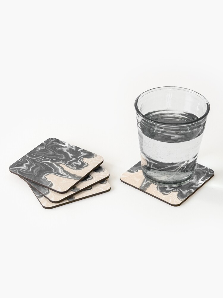 Alternate view of Black and White / Peach / Beige Acrylic Pour Painting Coasters (Set of 4)