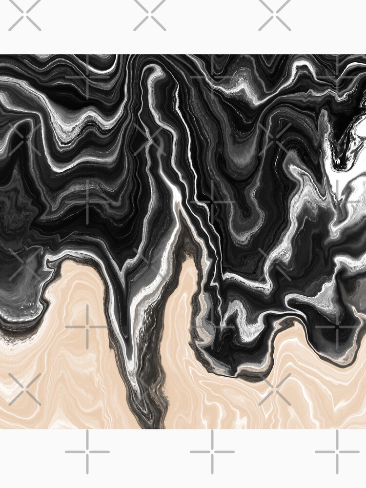 Black and White / Peach / Beige Acrylic Pour Painting by abstractnudes