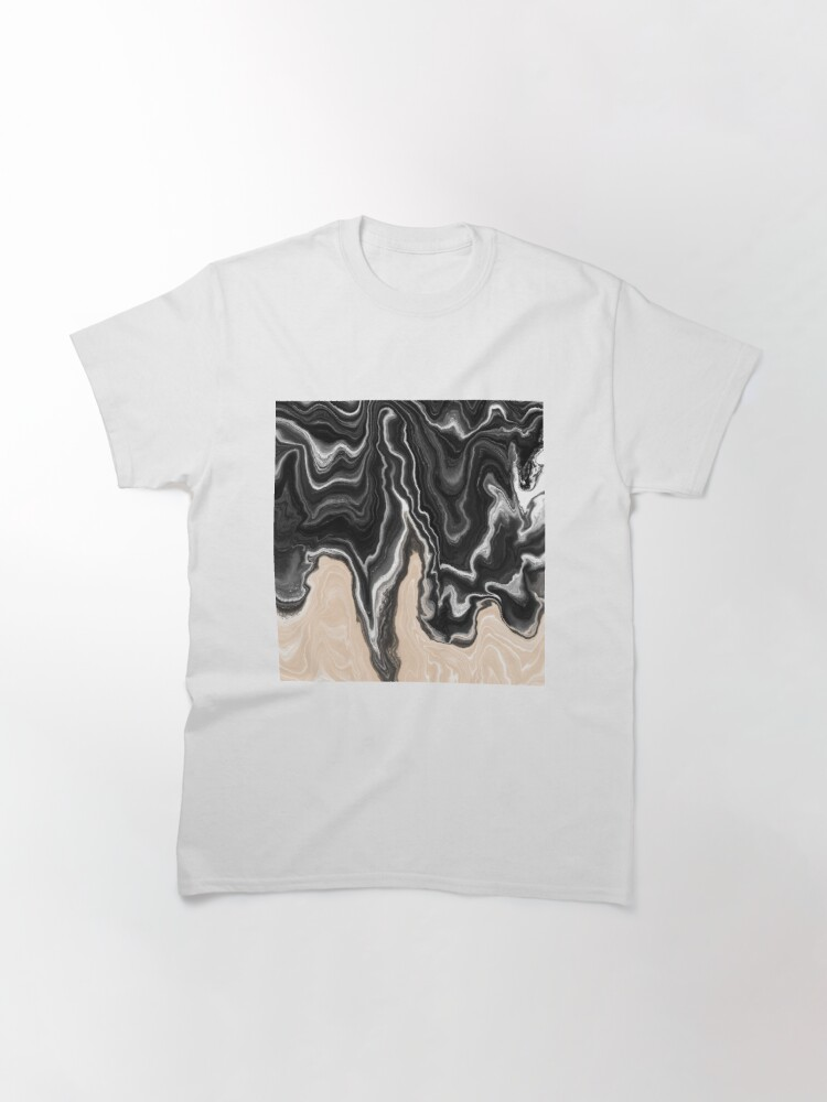 Alternate view of Black and White / Peach / Beige Acrylic Pour Painting Classic T-Shirt