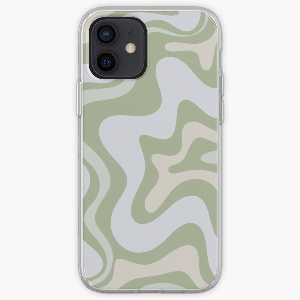 Liquid Swirl Contemporary Abstract in Light Sage Green Grey Almond iPhone Case & Cover