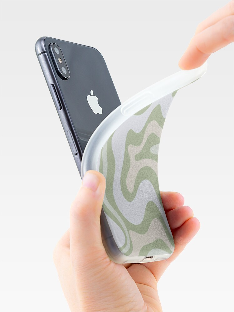 Alternate view of Liquid Swirl Contemporary Abstract in Light Sage Green Grey Almond iPhone Case & Cover