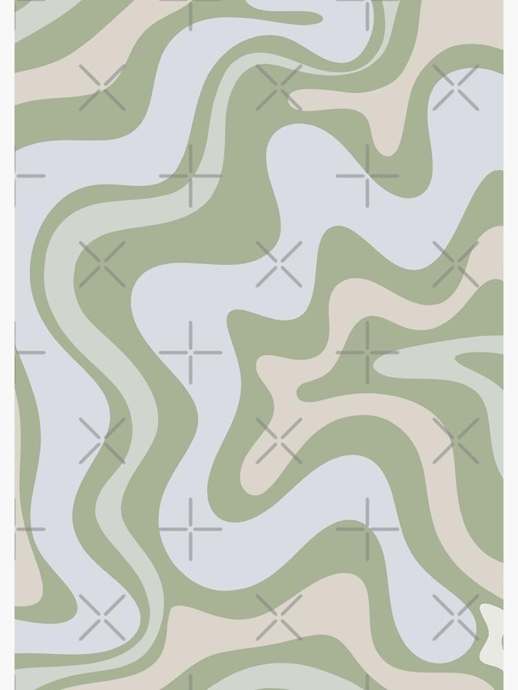 Liquid Swirl Contemporary Abstract in Light Sage Green Grey Almond by kierkegaard