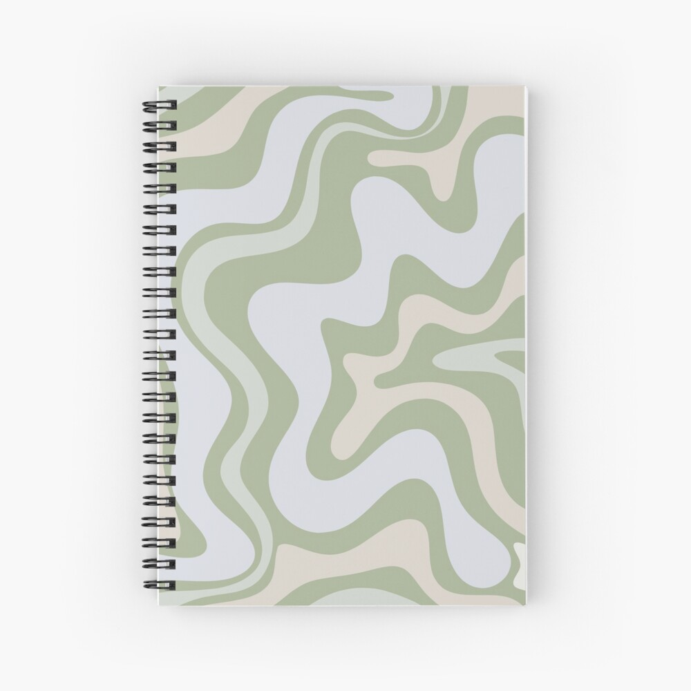 Liquid Swirl Contemporary Abstract in Light Sage Green Grey Almond Spiral Notebook