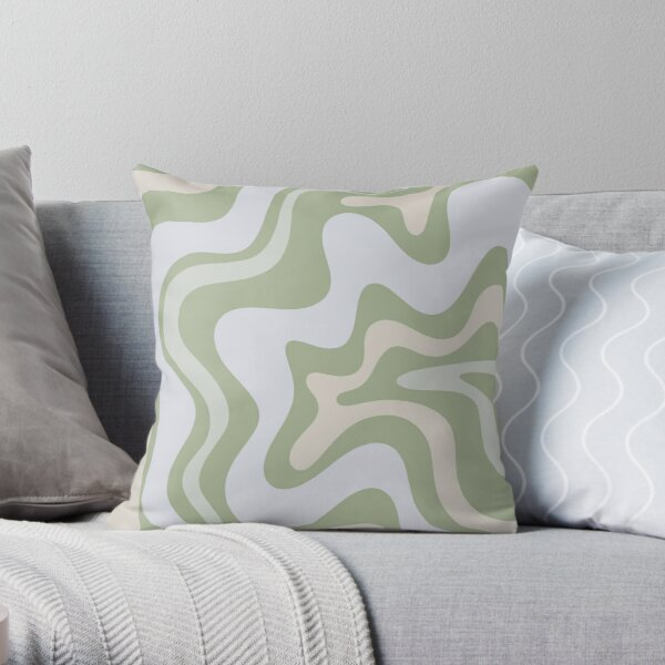 Liquid Swirl Contemporary Abstract in Light Sage Green Grey Almond Throw Pillow