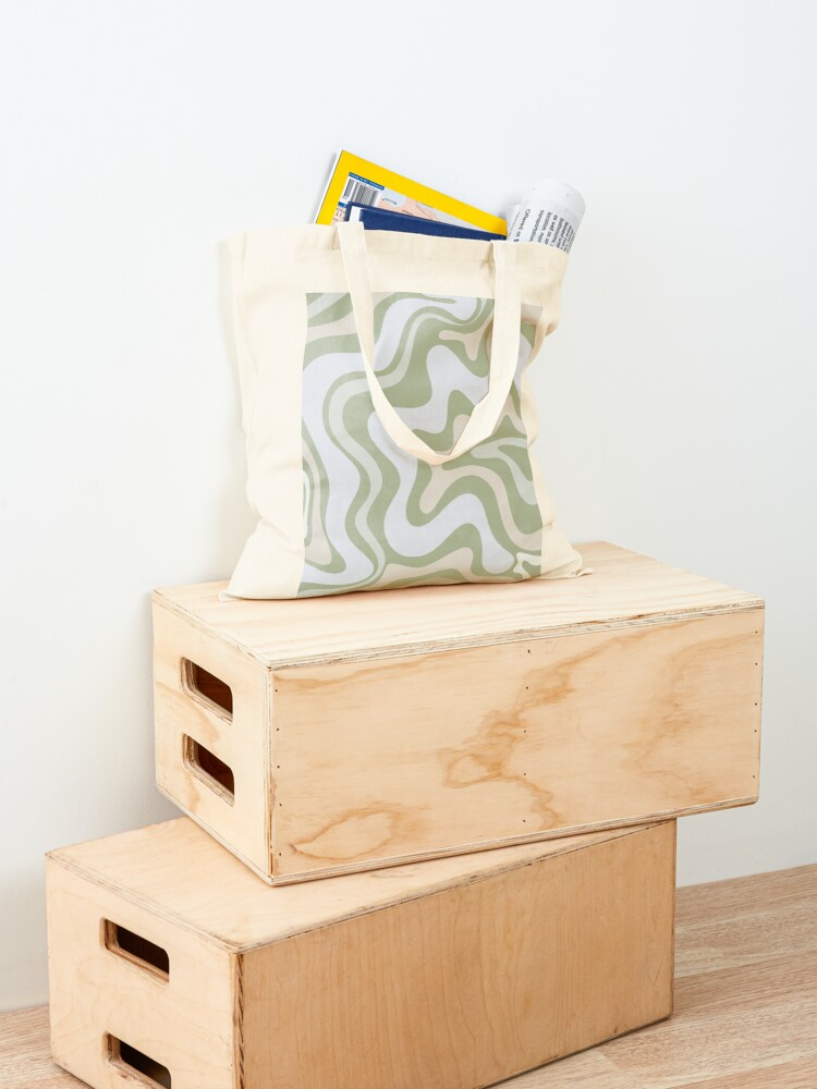 Alternate view of Liquid Swirl Contemporary Abstract in Light Sage Green Grey Almond Tote Bag
