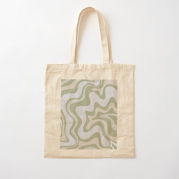 Liquid Swirl Contemporary Abstract in Light Sage Green Grey Almond Cotton Tote Bag
