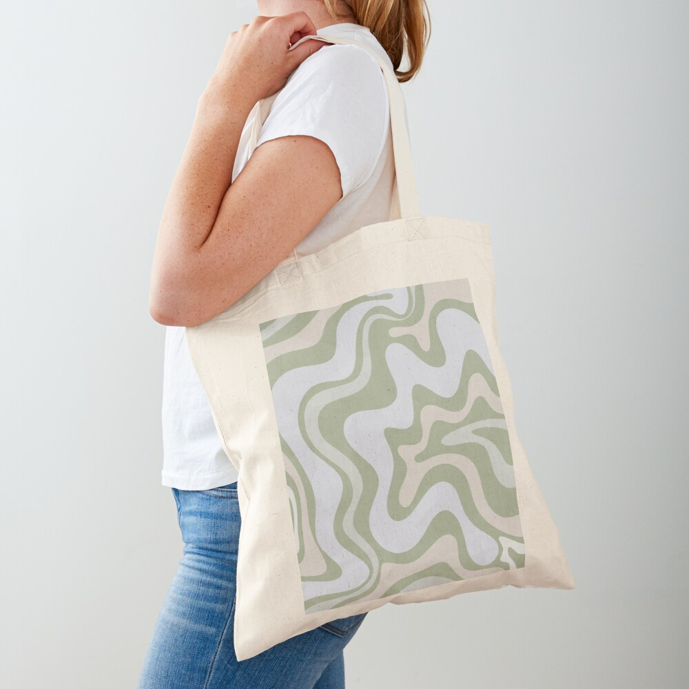 Liquid Swirl Contemporary Abstract in Light Sage Green Grey Almond Tote Bag