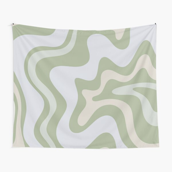 Liquid Swirl Contemporary Abstract in Light Sage Green Grey Almond Tapestry