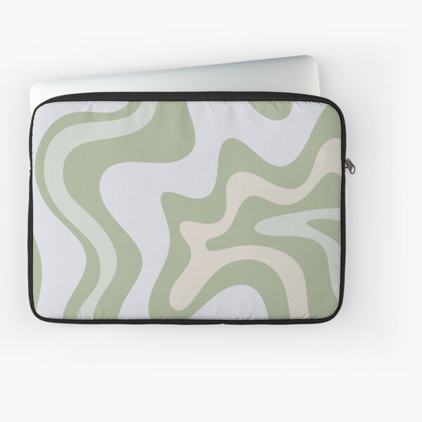 Liquid Swirl Contemporary Abstract in Light Sage Green Grey Almond Laptop Sleeve
