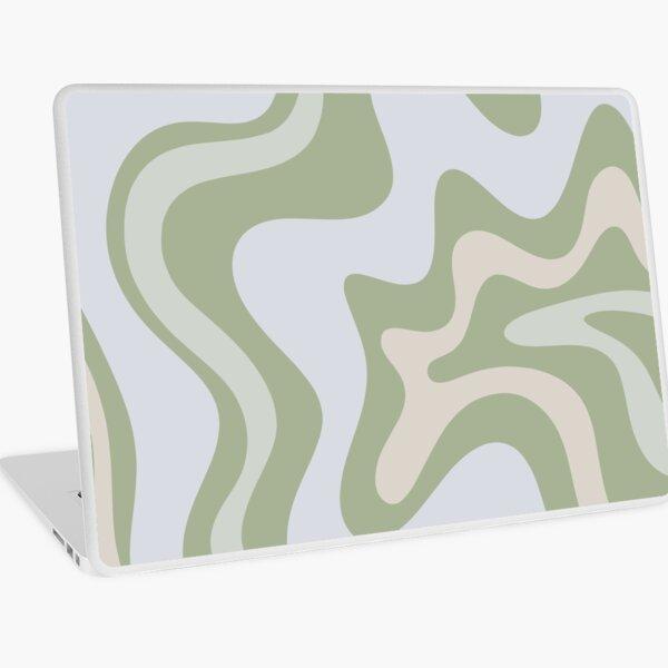 Remolino líquido abstracto contemporáneo en verde salvia claro gris almendra Vinilo para portátil