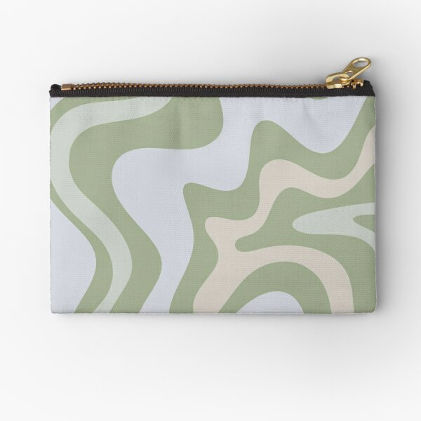Liquid Swirl Contemporary Abstract in Light Sage Green Grey Almond Zipper Pouch