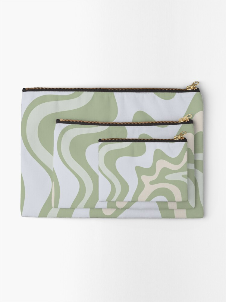 Alternate view of Liquid Swirl Contemporary Abstract in Light Sage Green Grey Almond Zipper Pouch