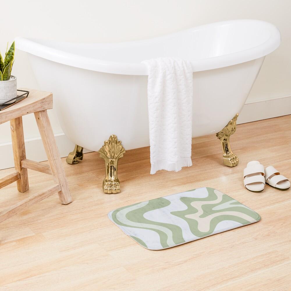 Liquid Swirl Contemporary Abstract in Light Sage Green Grey Almond Bath Mat