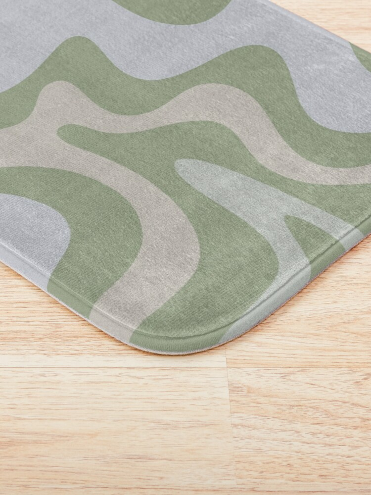 Alternate view of Liquid Swirl Contemporary Abstract in Light Sage Green Grey Almond Bath Mat
