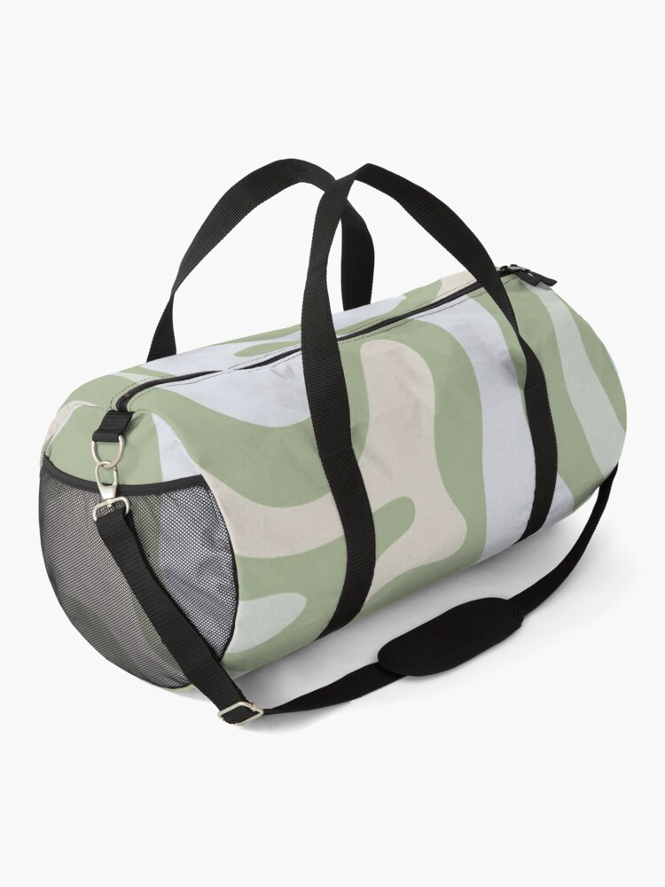Alternate view of Liquid Swirl Contemporary Abstract in Light Sage Green Grey Almond Duffle Bag