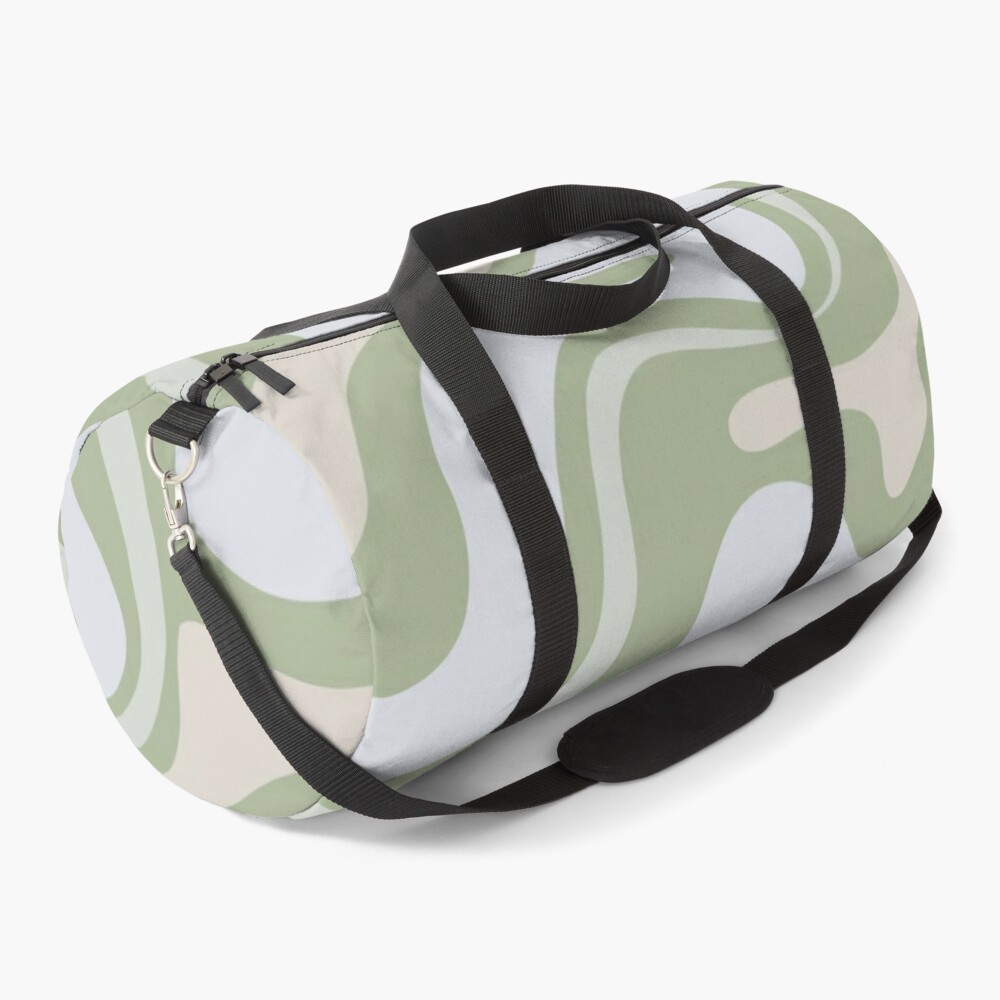 Liquid Swirl Contemporary Abstract in Light Sage Green Grey Almond Duffle Bag