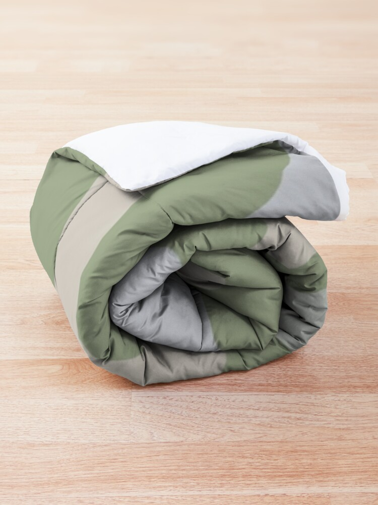 Alternate view of Liquid Swirl Contemporary Abstract in Light Sage Green Grey Almond Comforter